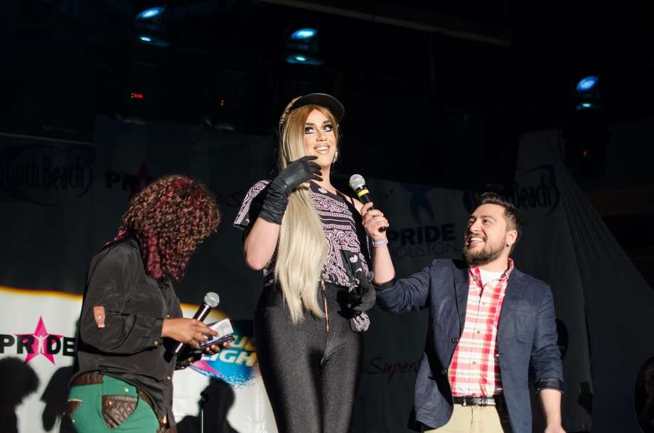 Morena Roas, from left, Adore Delano and Homer Martinez during the Pride Superstar competition. Photo: Sara Kelly