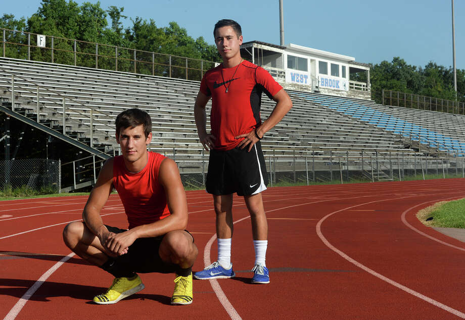 West Brook's Will Gavrelos, left, and Julian Perez will compete for the Bruins in the USA Track & Field Jr. Olympics in Houston. Photo taken Tuesday, July 01, 2014 Guiseppe Barranco/@spotnewsshooter Photo: Guiseppe Barranco, Photo Editor