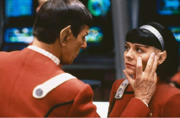 """Star Trek VI: The Undiscovered Country"" –  Capt. Kirk (William Shatner) must face his prejudices when his sworn enemies the Klingons lurch perilously close to economic deprivation and environmental ruin. Obeying Star Fleet orders, Kirk reluctantly begins peace negotiations with Klingon chancellor Gorkon (David Warner). But peace has many foes: Gorkon is soon dead, and Kirk is imprisoned in a Klingon gulag as the galaxy edges toward all-out war."" Available July 1 Photo: Paramount Pictures"