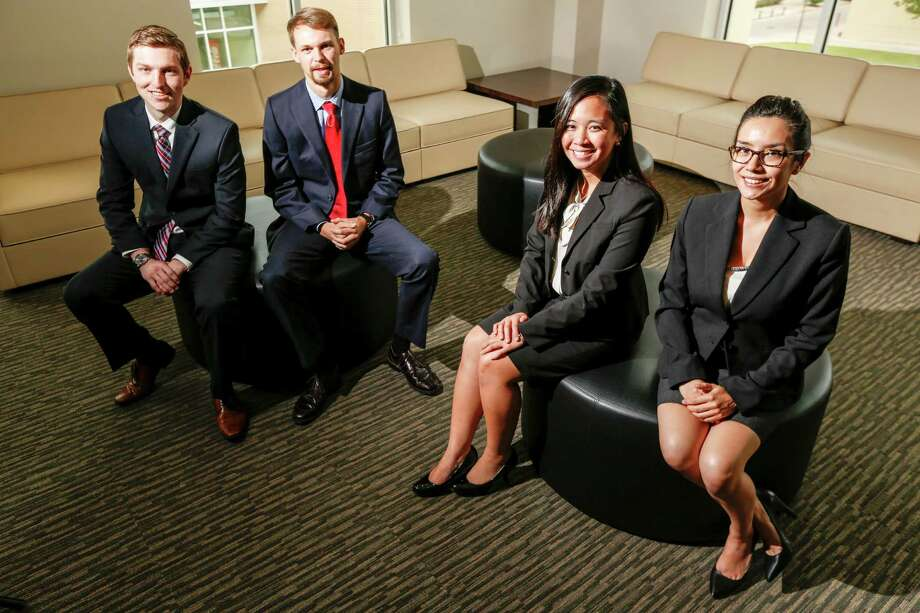 From left, Casey McNeil, Bobby Jacobs, Susan Tran and Cassandra Hoang of the University of Houston's Cyvia and Melvyn Wolff Center for Entrepreneurship hauled in honors and money as they pitched their business plan at competitions around the U.S. Photo: Eric Kayne / Eric Kayne