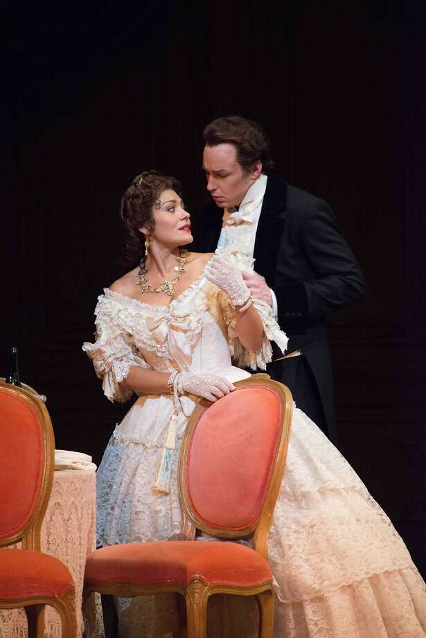 "Ailyn Pérez and Stephen Costello play tragic lovers Violetta and Alfredo in S.F. Opera's ""La Traviata."" Photo: Kristen Loken, San Francisco Opera"