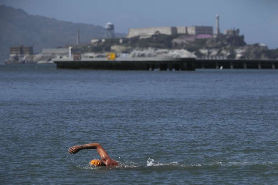 10. A member of the Dolphin Club swims at Aquatic Park Beach Photo: Carlos Avila Gonzalez, The Chronicle