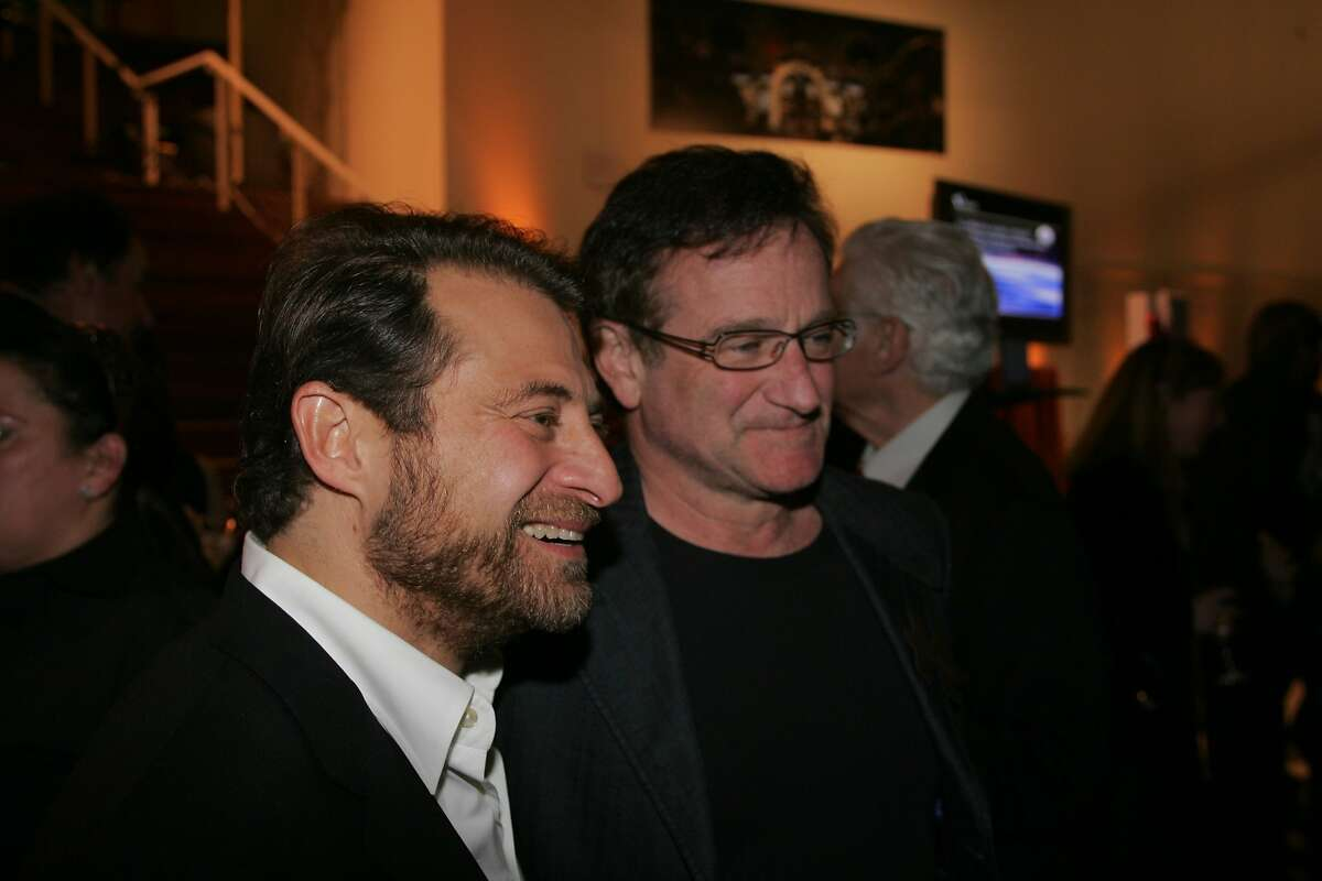 XPRIZE.JPG Google co-founder Larry Page hosted a benefit for the X-Prize Foundation at Google HQ in Mountain View. From left: X-Prize Foundation creator Peter Diamandis and actor-comedian Robin Williams. Thomas J. Gibbons / The Chronicle