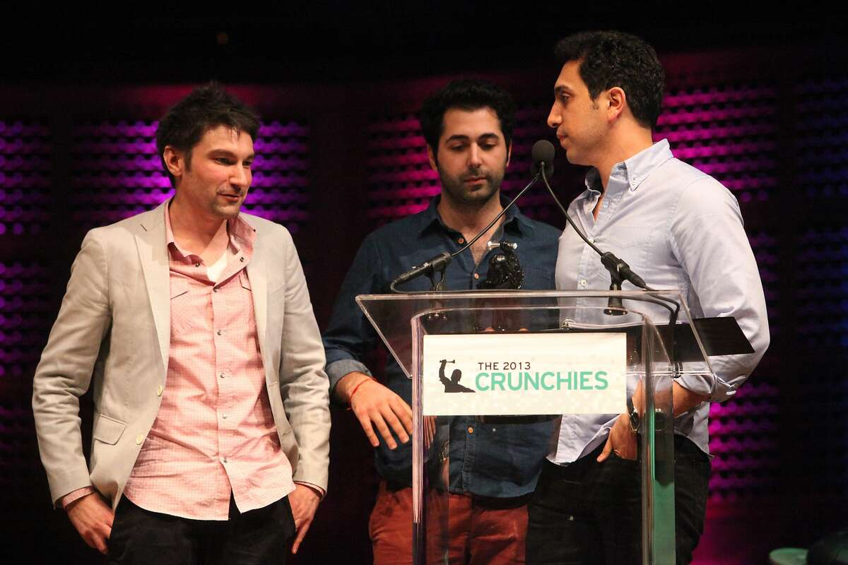 Tinder founders accept the award for the 'Best New Startup' at the TechCrunch's annual award show at Davies Symphony Hall in San Francisco Calif. on Feb. 10, 2014.