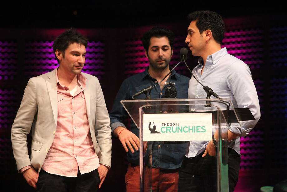 Tinder founders accept the award for the 'Best New Startup' at the TechCrunch's annual award show at Davies Symphony Hall in  San Francisco Calif. on Feb. 10, 2014. Photo: Deborah Svoboda, The Chronicle