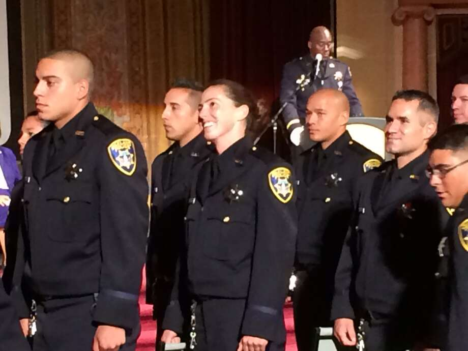 The Oakland Police Department welcomed 34 new officers to its ranks Thursday. Photo: Henry Lee