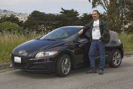 Photos of Bruce Mirken and his 2013 Honda CR-Z. Photographed on April 27, 2014 at the McLaren Park -John F. Shelley Drive in San Francisco, CA.