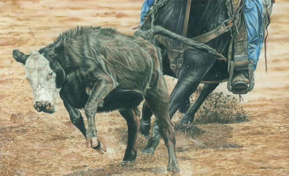 "Texas western artist Jared Paul Wilson uses Prismacolor pencils to capture every detail of an animal in works such as ""Catch Me If You Can."" Photo: Images And Photo Courtesy Of The Artist"