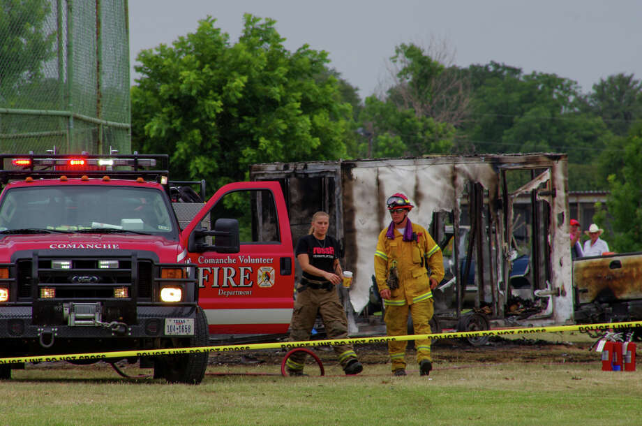Firefighters work the scene where a trailer carrying fireworks exploded on Thursday morning, July 3, 2014. At least one person was killed and three were injured and injuring at least three, according to multiple media reports. Photo: Courtesy Photo/Justin Brundin