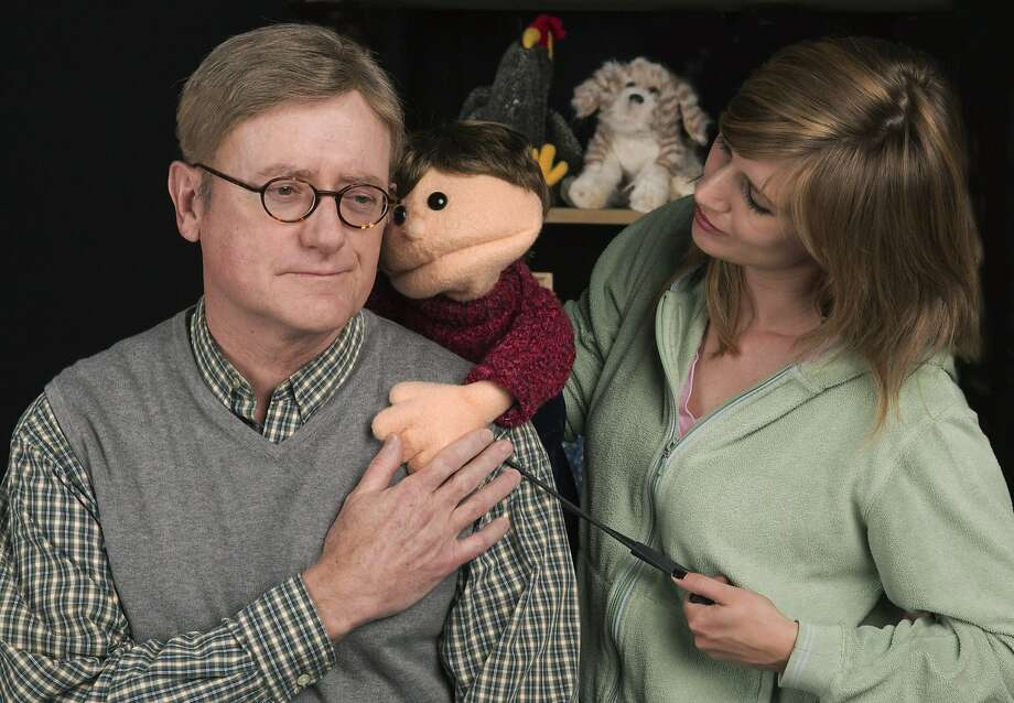 Steve Brady  plays a cast member and Sarah Moser  the puppeteer of a children's show who must cope with the death of a colleague. Photo: Tracy Martin