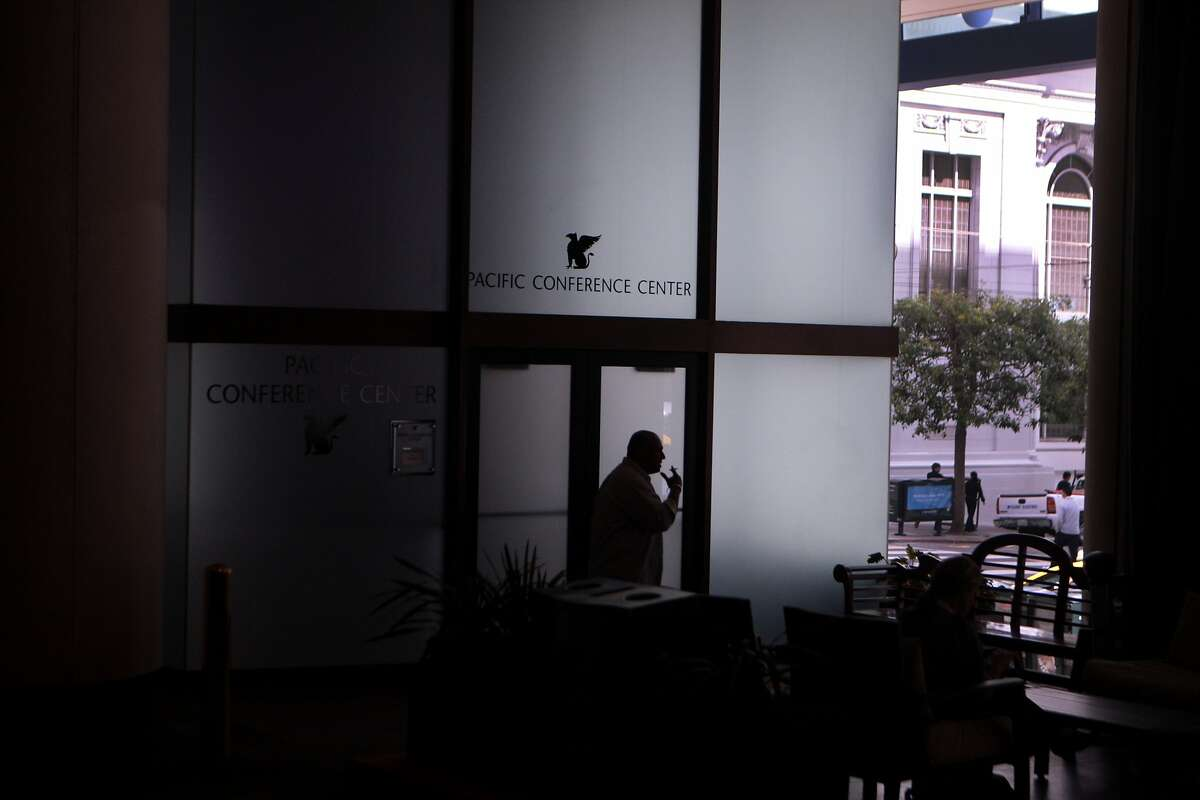 A man is sillhouetted in front of the Pacific Conference Center, another meeting location available for rent via LiquidSpace, at the JW Marriott Hotel Union Square in San Francisco, Calif. on Monday, June 30, 2014.