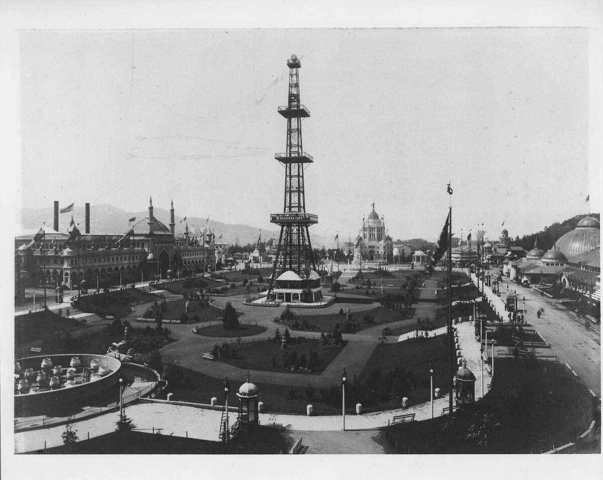 Overview of the Grand Court including the Electric Tower, Golden Gate Park. California Midwinter International Exposition, San Francisco, 1894 Photo courtesy of Fine Arts Museums of San Francisco
