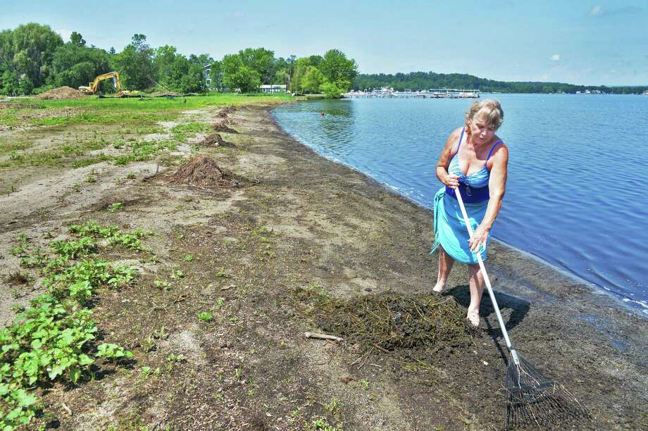 Saratoga Lake resident Bonnie Armer volunteers time to clean the shoreline on Brown's Beach on Saratoga Lake Thursday, July 3, 2014, in Stillwater, N.Y. The town hopes to have the beach open to the public by the end of the month.  (John Carl D'Annibale / Times Union) Photo: John Carl D'Annibale / 00027627A