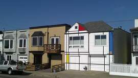 A standard house on the Great Highway with a decidedly un-standard paint job that's a nod to Dutch artist Pier Mondrian.