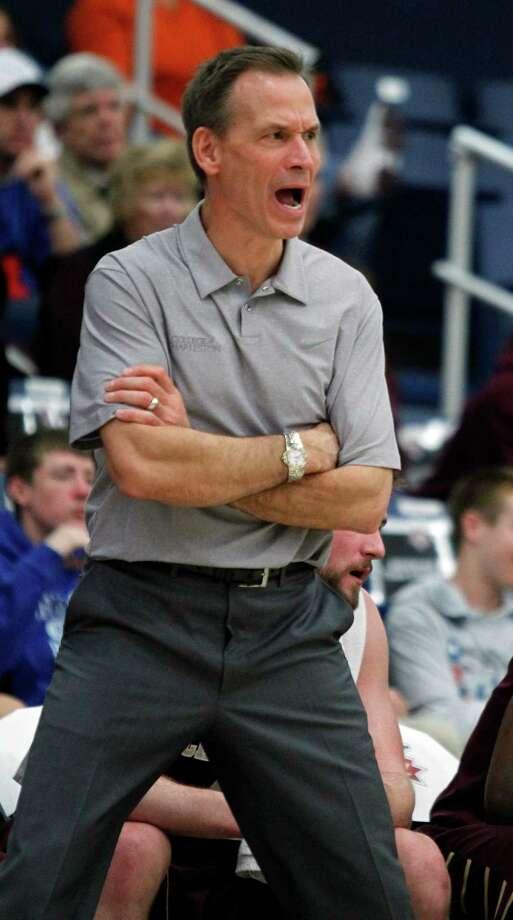 Charleston coach Doug Wojcik yells out to his players in the first half of an NCAA college basketball game against Arizona State at the Wooden Legacy tournament Friday, Nov. 29, 2013, in Fullerton, Calif. (AP Photo/Alex Gallardo) ORG XMIT: CAAG143 Photo: Alex Gallardo / FR170211 AP