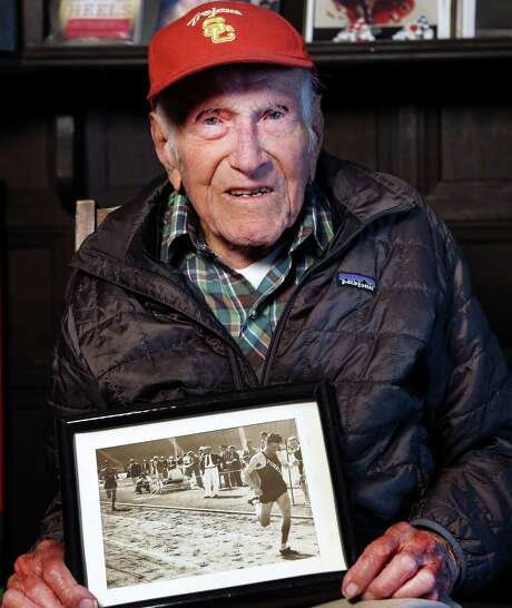 Louis Zamperini competed in the 1936 Olympics and later endured two years in Japanese prison camps during WWII. Photo: Matt Meindi, Associated Press / USC Dornsife College of Letters,