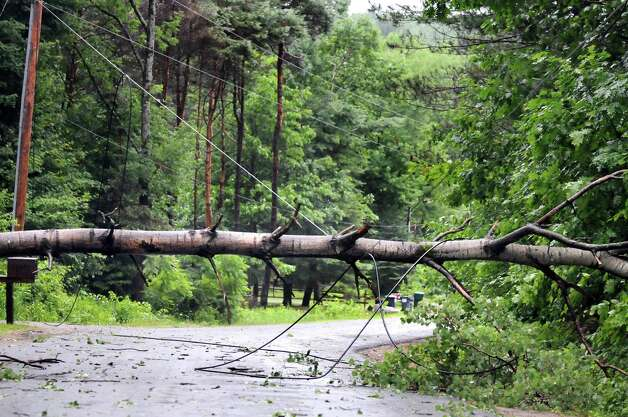 A fallen tree blocks Mechanic Street after a fast-moving storm moved through the area on Thursday July 3, 2014, in Galway, N.Y. (Cindy Schultz / Times Union) Photo: Cindy Schultz