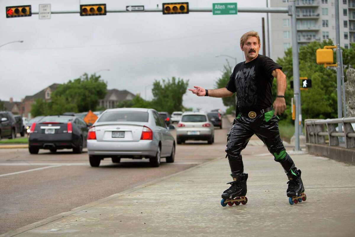 Portrait of Montrose area rollerblader Juan Carlos who has been skate dancing on the corner of Montrose and Allen Parkway during rush hour for the past 15 years. He makes another appearance on the television show