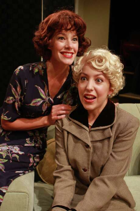 "(For the Chronicle/Gary Fountain, June 29, 2014) Crystal O'Brien as Julia Sterroll, left, and Lisa Villegas as Jane Banbury, in this scene from Main Street Theater's production of Noel Coward's comedy ""Fallen Angels."" Photo: Gary Fountain, Freelance / Copyright 2014 by Gary Fountain"