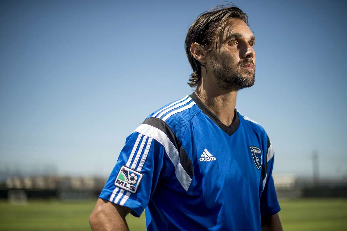 Chris Wondolowski, who played forward for the U.S. national soccer team in the 2014 World Cup, speaks with reporters after practicing with the San Jose Earthquakes on Friday, July 4, 2014, in San Jose, Calif. (AP Photo/Noah Berger)