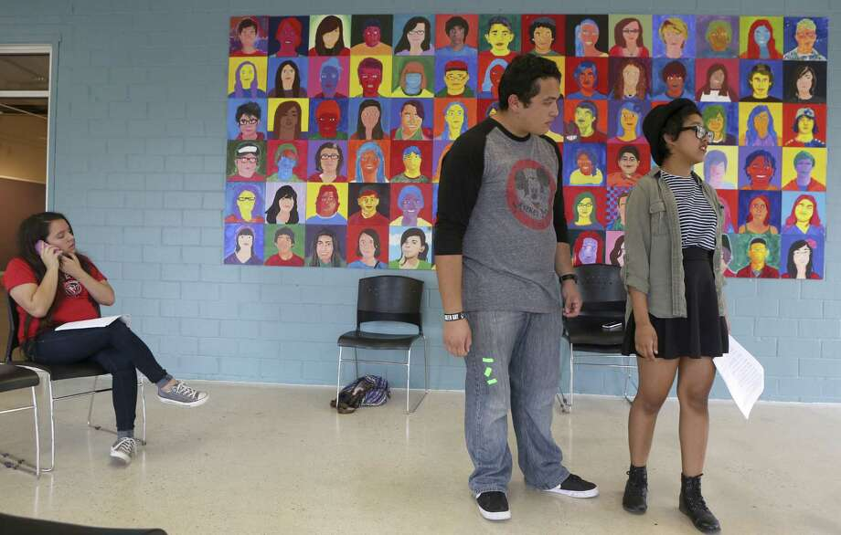 """Julie Rodriguez, 13, Nicolas Rodriguez, 16, and Lily Tijerina, 15, rehearse a play for """"Stories Seldom Told: No Need to Whisper."""" Photo: Photos By Helen L. Montoya / Conexión / ©2014 San Antonio Express-News"""