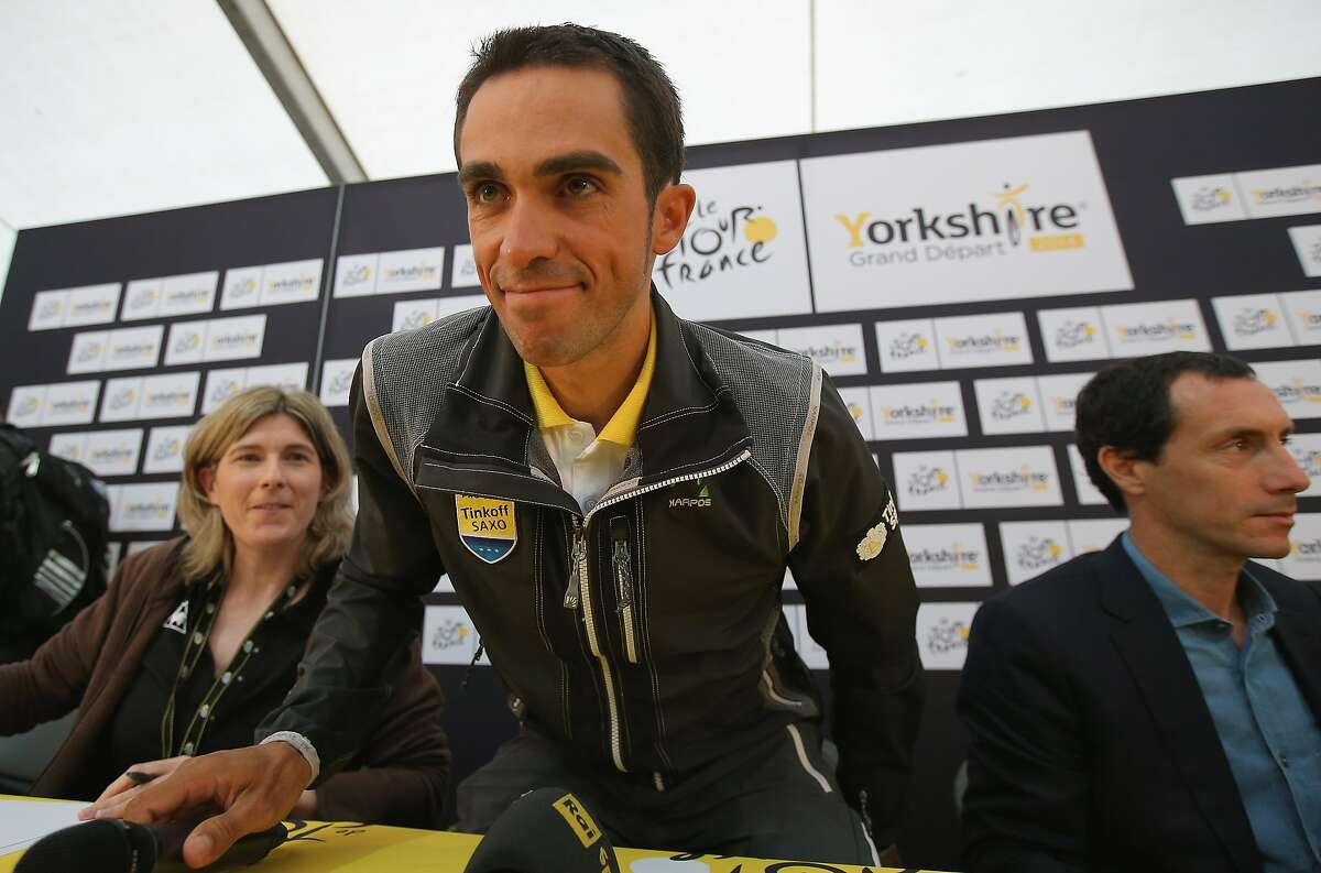 LEEDS, ENGLAND - JULY 04: Alberto Contador Spain and Tinkoff-Saxo addresses the media during a press conference prior to the 2014 Le Tour de France on July 4, 2014 in Leeds, United Kingdom. (Photo by Doug Pensinger/Getty Images)