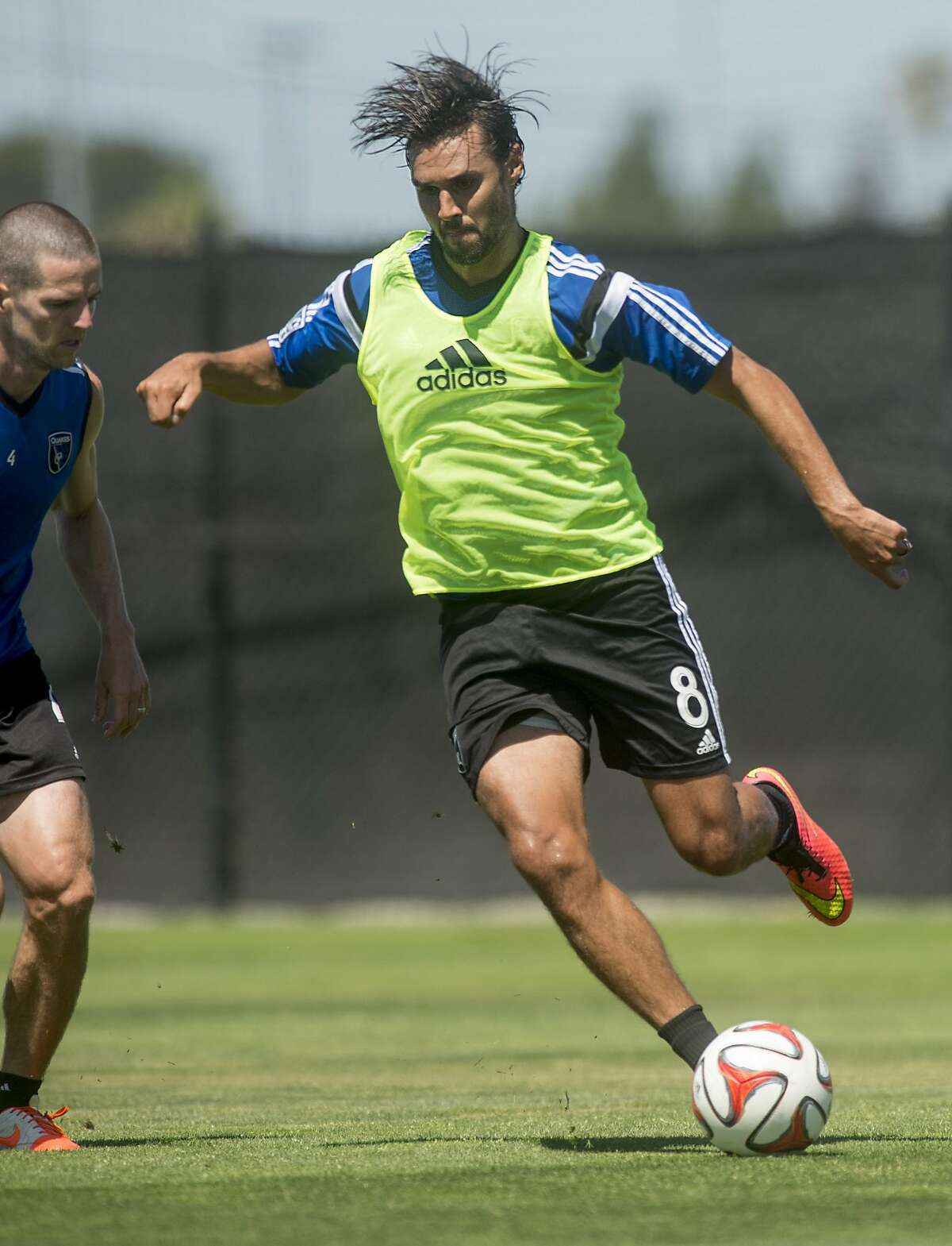 Chris Wondolowski, who played forward for the U.S. national soccer team in the 2014 World Cup, practices with the San Jose Earthquakes on Friday, July 4, 2014, in San Jose, Calif. (AP Photo/Noah Berger)