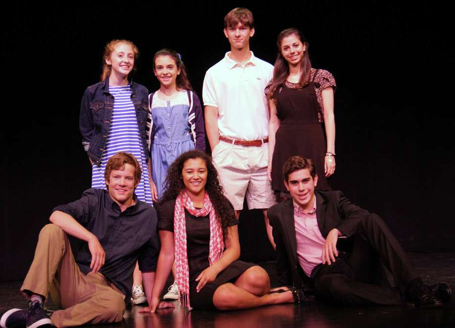The Greenwich Academy-Brunswick School cast of 'The Conflict.' Front row, from left: Henry Harris, Olivia Winn and Andrew Israel. Back row, from left: Sarah Gold, Lucy Burke, Ridgley Knapp and Alexa LaVersa. Photo: Contributed Photo / Greenwich Time