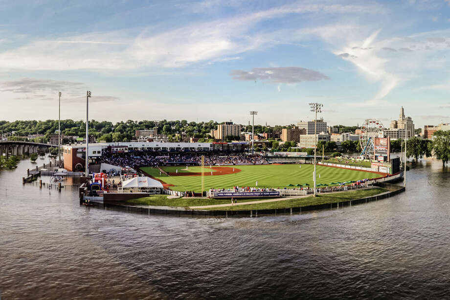 Flooding in  the Midwest has turned Modern Woodmen Park, home of Astros Class-A affiliate Quad Cities River Bandits. The park sits on the north bank of the Mississippi River in Davenport, Iowa. Flood walls protect it from succumbing to the river during high water levels. Photo: Rich Guill , Quad Cities River Bandits