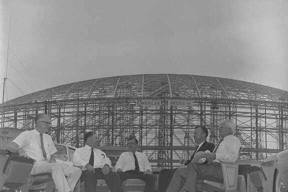 "In 1963, Harris County commissioners V.V. ""Red"" Ramsey, from left, E.A. ""Squatty"" Lyons, W. Kyle Chapman, County Judge Bill Elliott and Commissioner Philip Sayers check out stadium seats for the soon-to-be-completed Domed Stadium."