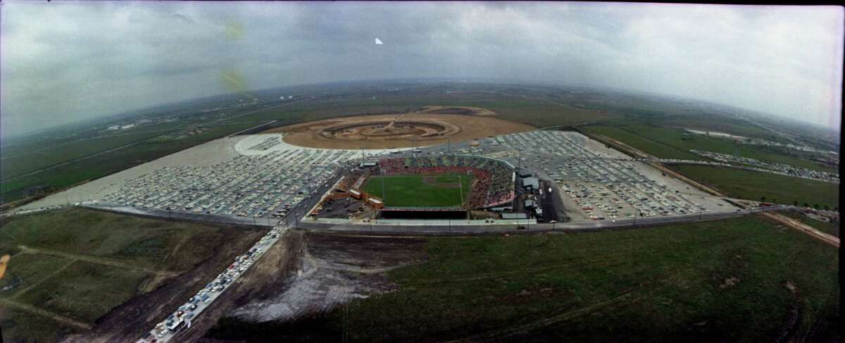 An aerial photo of Colt Stadium, the new team's interim home, on Major League Baseball's debut in Houston. The Domed Stadium site lies beyond it.