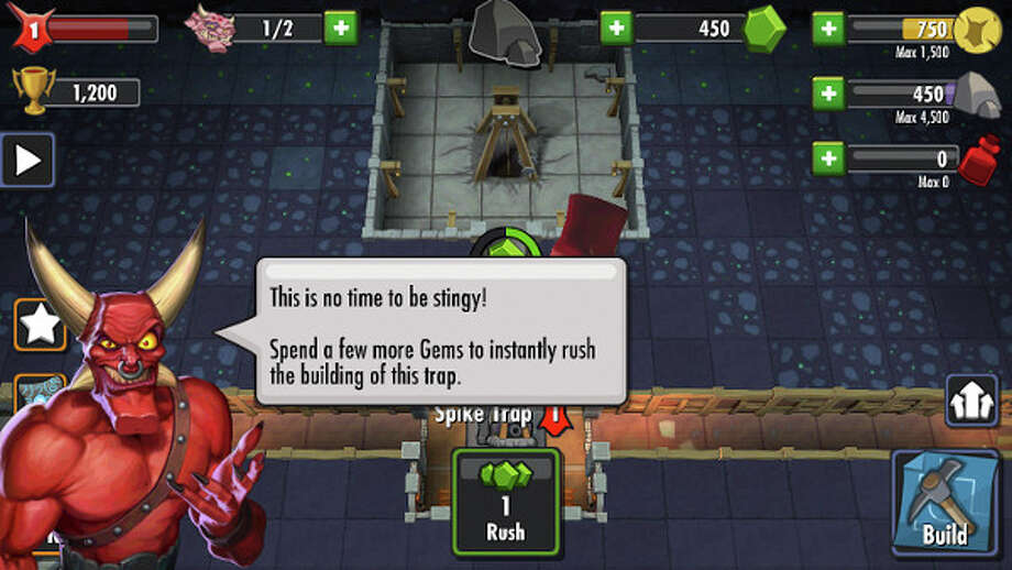 "The free mobile version of  Electronic Arts' new mobile version of ""Dungeon Keeper"" began its solicitations for in-app purchases early and with gusto. Photo: ELECTRONIC ARTS, HO / ELECTRONIC ARTS"