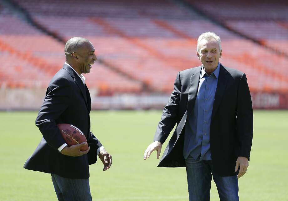 Former 49ers Roger Craig (left) and Joe Montana will play in the flag football game Saturday at Candlestick Park. Photo: Eric Risberg, AP