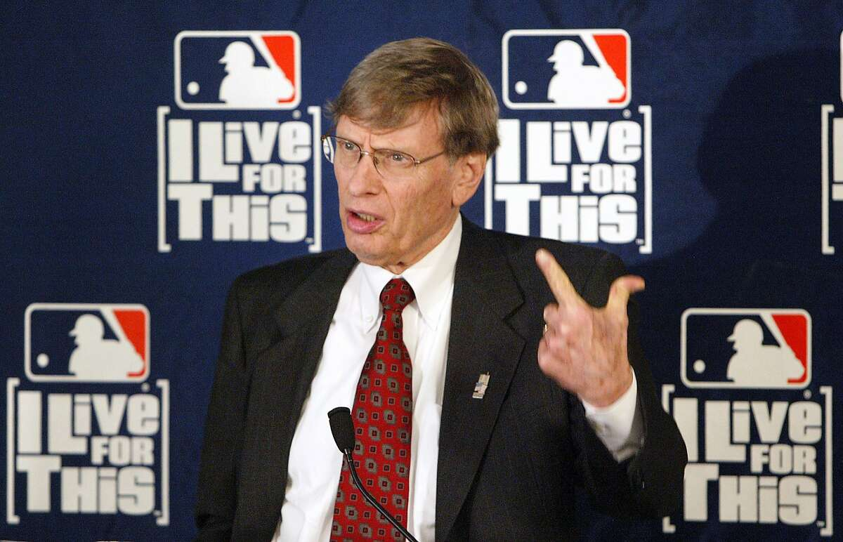 FILE - In this May 20, 2004, file photo, Major League Baseball Commissioner Bud Selig speaks at a news conference at the league's offices in New York. Selig said in a formal statement Thursday, Sept. 26, 2013, that he plans to retire in January 2015. (AP Photo/Gregory Bull, File)