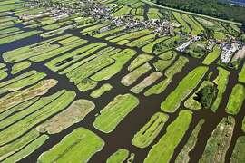 The Netherlands, Jisp, Aerial, Village and polder landscape. Netherlands, Jisp, Polder landscape