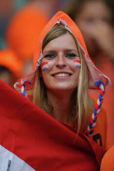 SALVADOR, BRAZIL - JULY 05:  A Netherlands fan enjoys the atmosphere prior to the 2014 FIFA World Cup Brazil Quarter Final match between the Netherlands and Costa Rica at Arena Fonte Nova on July 5, 2014 in Salvador, Brazil. Photo: Dean Mouhtaropoulos, Getty Images / 2014 Getty Images