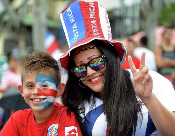Costa Rican fans await for the start of the broadcasting of the Brazil 2014 FIFA World Cup