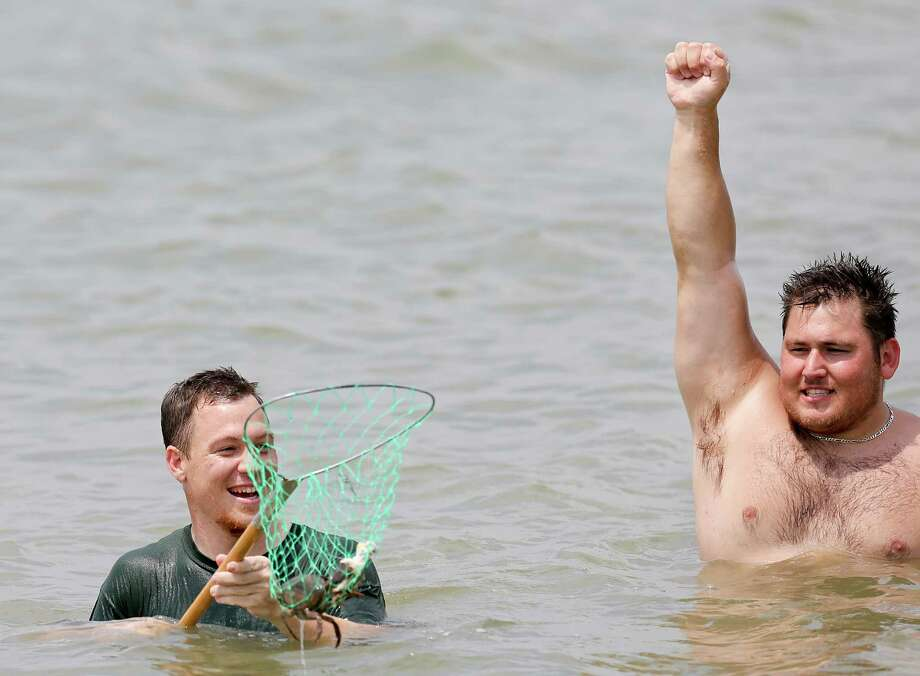 Chris Rennie, of Houston, nets a crab in the Galveston Bay off of Tiki Island while his friend Brandon Tucker celebrates the catch. The two tied chicken to floating water bottles and when they see one of the water bottle move, they scoop the net in the water to catch the crab. Photo: Thomas B. Shea, For The Chronicle / © 2014 Thomas B. Shea