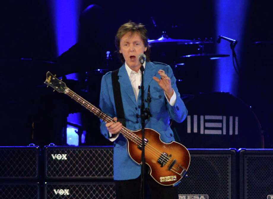 Paul McCartney addresses the audience during a performance at the Times Union Center Saturday July 5, 2014, in Albany, NY.  (John Carl D'Annibale / Times Union) Photo: John Carl D'Annibale / 00027433A