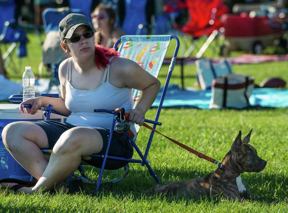 Jennifer Mackin and her dog Lexi at the annual Family Fourth event held at Waveny Park, New Canaan, CT on Saturday, July 5th, 2014. Photo: Mark Conrad / Connecticut Post Freelance