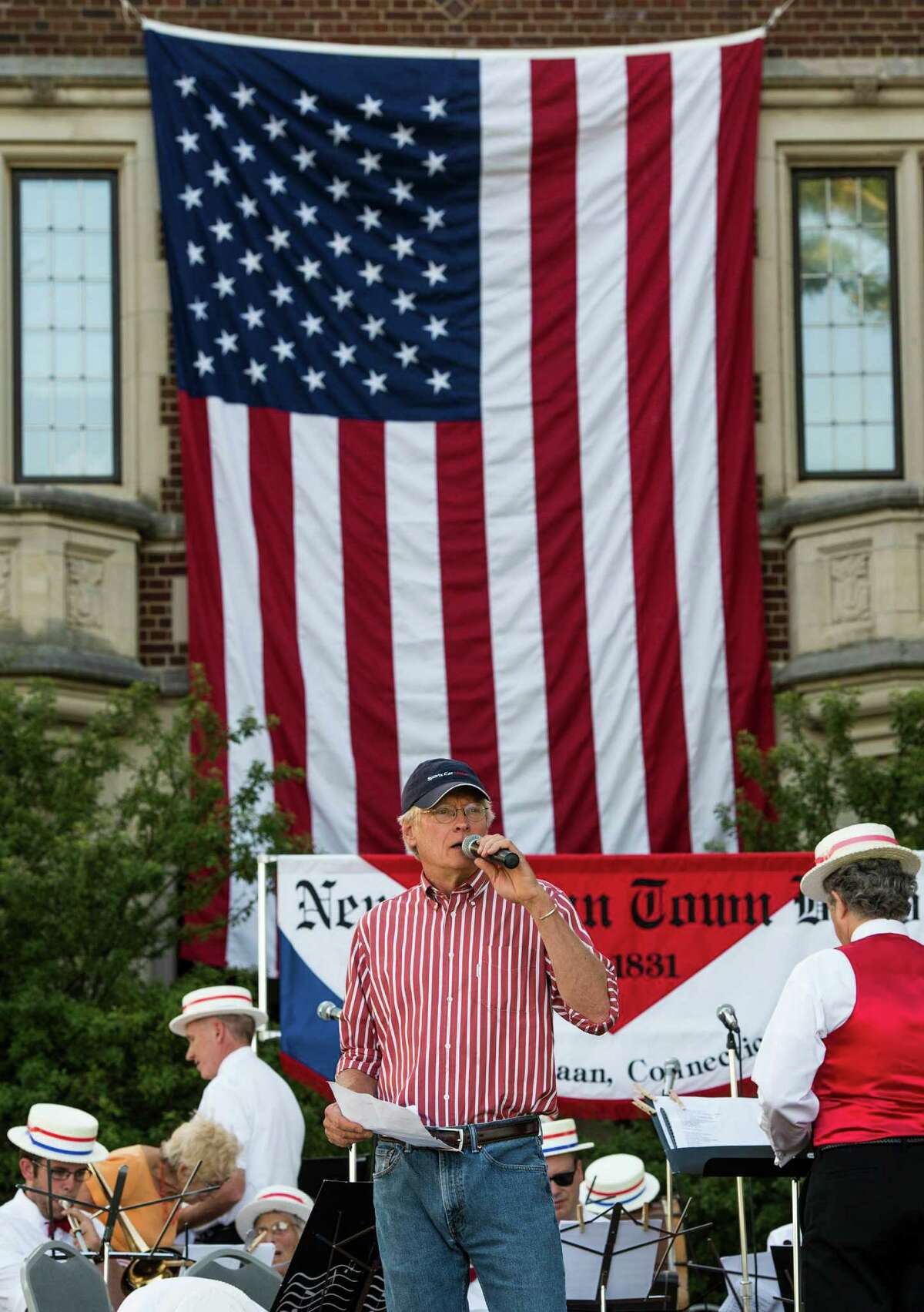 Peter Bush the MC at the annual Family Fourth event held at Waveny Park, New Canaan, CT on Saturday, July 5th, 2014.