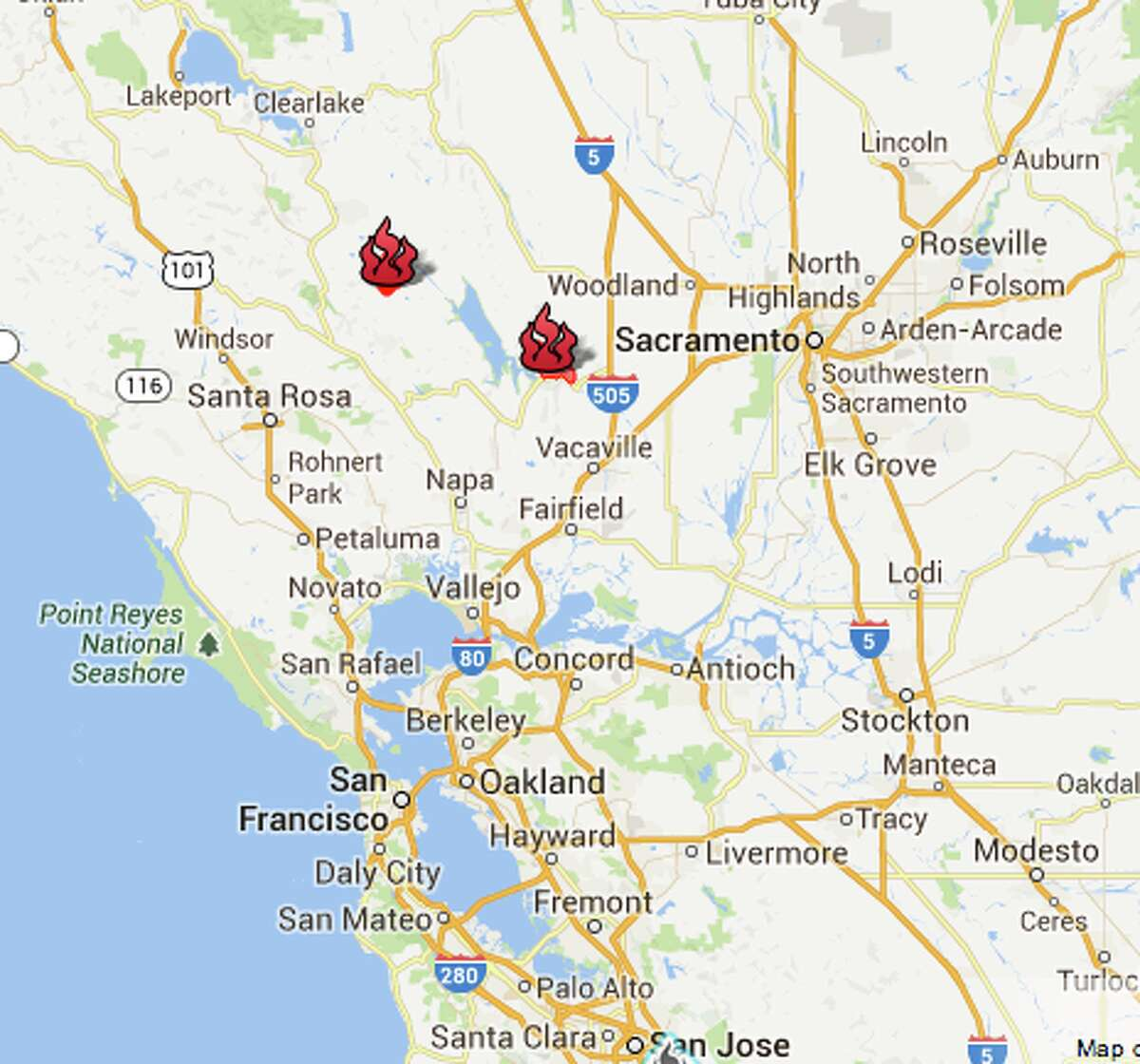 This screenshot of the CAL FIRE California fire map (click through the slideshow to see the interactive map) show the Butts Fire (at left) and the Monticello Fire. As of 7 a.m. on Sunday, July 6, 2014, the Butts Fire, northwest of Lake Berryessa, was at 4,300 acres and 80 percent contained. The Monticello Fire, at the southeast shore of Lake Berryessa, had covered more than 7,000 acres and was 30 percent contained.