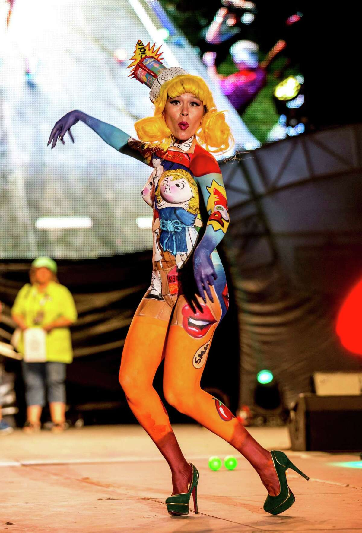 A model poses at the World Bodypainting Festival 2014 on July 4, 2014 in Poertschach am Woerthersee, Austria.