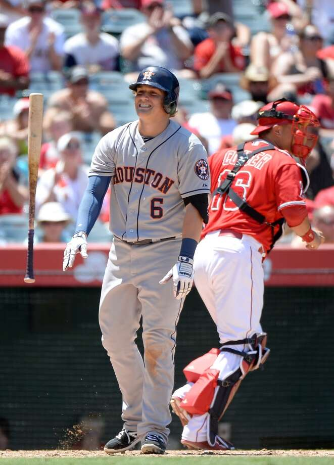 July 6: Angels 6, Astros 1  Enrique Hernandez reacts to his strikeout. Photo: Harry How, Getty Images