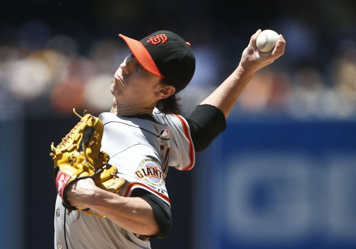 San Francisco Giants starting pitcher Tim Lincecum throws against the San Diego Padres in the first inning of a baseball game Sunday, July 6, 2014, in San Diego. (AP Photo/Lenny Ignelzi)