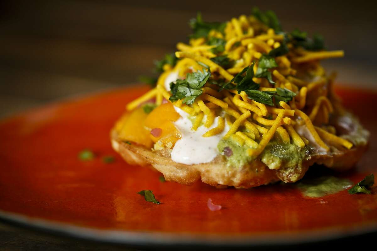 Sev puri made by Juhu Beach Club's Preeti Mistry is seen in her Oakland, Calif., home on Wednesday, June 25, 2014.