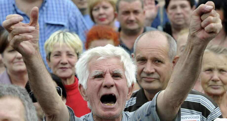 A man shouts slogans during a rally of pro-Russia supporters in Donetsk in eastern Ukraine. Photo: Alexander Khudoteply / AFP / Getty Images / AFP