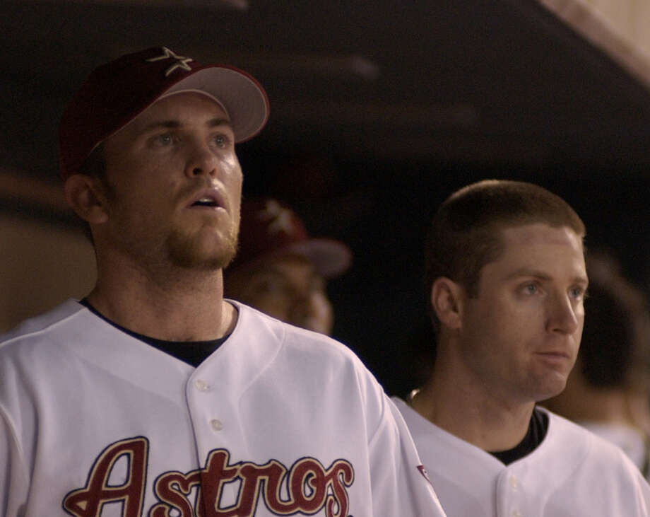 2005: Brad Lidge and Morgan Ensberg Both players made their All-Star debut in Detroit, a game the National League lost 7-5. Photo: Ben DeSoto, Chronicle / Houston Chronicle