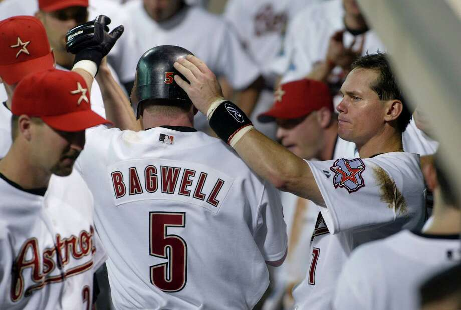 1996: Jeff Bagwell and Craig Biggio In Bagwell's second All-Star game the National League won its last game in 13 attempts. The National League lost the next 13 games. Biggio was hit by a pitch 27 times in a year that finished with 15 home runs and 75 RBIs. Photo: D. Fahleson, Chronicle / Houston Chronicle