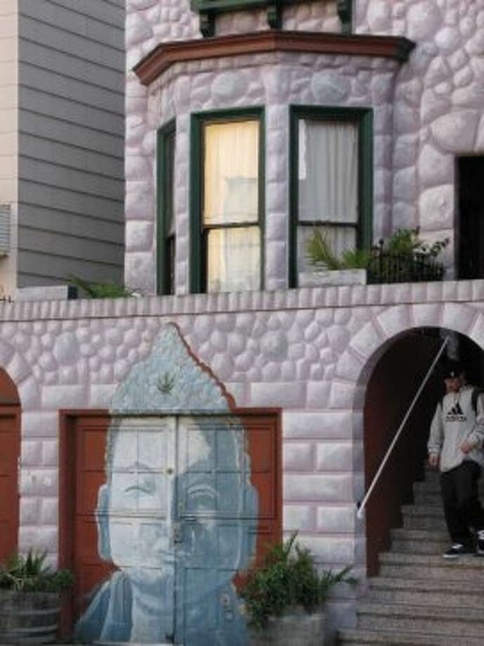 Buddha House on 17th near Sanchez. (Note: the stony wall is a painted image, just like Buddha). Photo: John King, The Chronicle